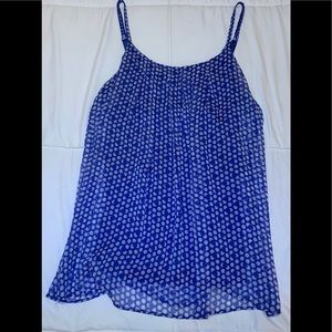 Blue & White Polka Dot Top